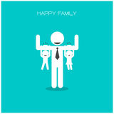 Happy family having fun,daughter and son hang on daddy 's arms,f Stock Images
