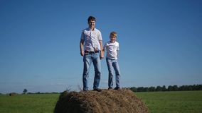 Happy family having fun on haystack stock footage
