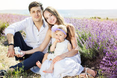 Happy family having fun in lavender field Stock Photography