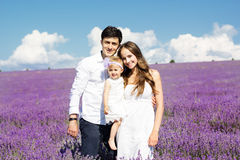 Happy family having fun in lavender field Royalty Free Stock Image