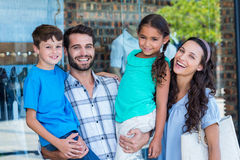 Happy family having fun in the mall Royalty Free Stock Image