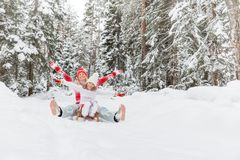 Happy family outdoor in winter stock photos