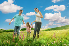 Happy family having fun outdoors Royalty Free Stock Images