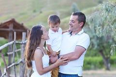 Happy family having fun outdoors stock photography