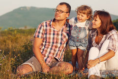 Happy family having fun outdoors Royalty Free Stock Photo