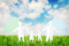 Happy family having fun outdoors in the summer field Stock Image