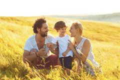 Happy family having fun playing in the field. stock images
