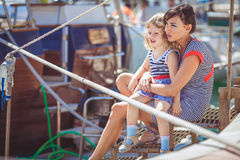 Happy Family having fun by the sea boats and yachts Stock Image