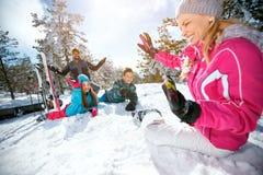 Family having fun - ski and snow time. Happy family having fun - ski and snow time Royalty Free Stock Image
