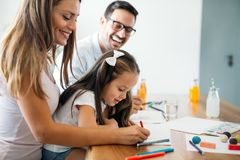 Happy family having fun time at home royalty free stock photo