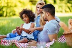 Happy family having fun time on picnic Stock Photos