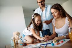 Happy family having fun time at home. Happy family having fun time together at home royalty free stock photos
