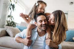 Happy family having fun time at home royalty free stock images