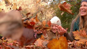 Happy family having fun together. With leaves falling around them stock footage
