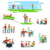 Happy Family Having Fun Together Set Of Illustrations stock illustration
