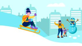 Happy Family Having Fun Together Winter Banner. Happy Cartoon Family Having Fun Together in Winter Snowy City Panorama Flat Banner Vector Illustration Father and vector illustration