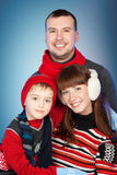Happy family having fun at winter time Royalty Free Stock Images