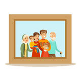 , Happy Family Having Good Time Together Framed Photo Portrait Illustration Stock Image