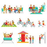 Happy Family Having Good Time Together Set Of Illustrations Royalty Free Stock Photography