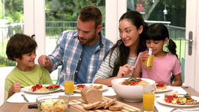 Happy family having lunch stock video footage