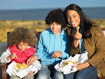 Happy family having picnic. Amiling at camera royalty free stock photo