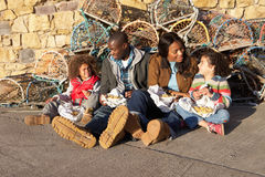 Happy family having picnic. Together stock photography