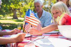 Happy family having picnic and holding american flag Stock Image