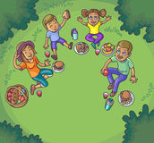 Happy family having picnic outdoors. Stock Photo