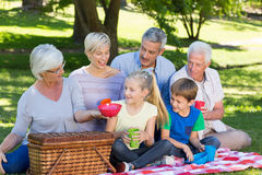 Happy family having picnic in the park Stock Photo