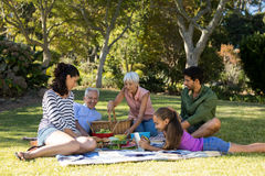 Happy family having picnic in the park. On a sunny day Stock Photo