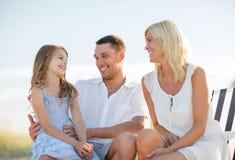 Happy family having a picnic Stock Photo