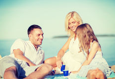 Happy family having a picnic Royalty Free Stock Photos