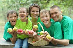 Happy Family having picnic. In summer park Royalty Free Stock Photography