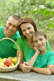Happy Family having picnic. In summer park Stock Images