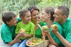 Happy Family having picnic. In summer park Stock Image