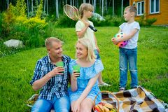 Family picnic with a dog Stock Image
