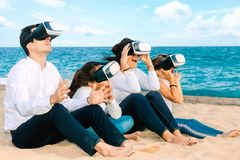 Happy family having virtual reality experience with VR glasses royalty free stock photos