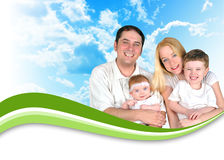Happy Family Header Background Clouds. A happy family is wearing white and there are nature clouds in the background. There is a green swirl wave to add your Royalty Free Stock Photography