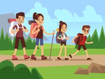 Happy family hikers. Autumn trekking outdoor adventure vector concept. Trekking family, recreation and active adventure tourism illustration Royalty Free Stock Images