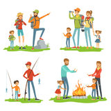 Happy family hiking. Travelling children with their parents. Illustrations of camping and road trip Stock Image