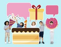 Happy family holding gift box icons royalty free stock images