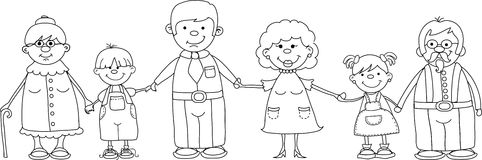 Happy family holding hands vector Stock Photos