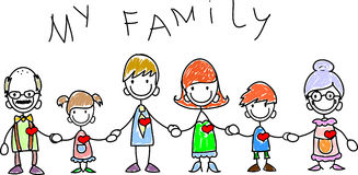 Happy family holding hands, vector Royalty Free Stock Photography