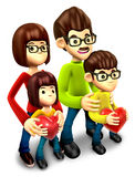 Happy family holding a heart. 3D Family Character Stock Photography