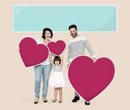 Happy family holding heart icons royalty free illustration