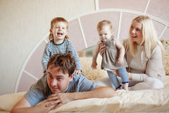 Happy family at home Royalty Free Stock Photography