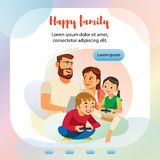 Happy Family Home Activity Web Banner Template royalty free illustration