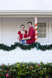 Happy family at home for Christmas Stock Photo
