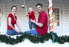 Happy family at home for Christmas Stock Photography
