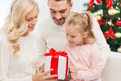 Happy family at home with christmas gift box Royalty Free Stock Image